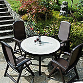 Nardi Toscana 5 Piece Round Ravenna Dining Set with Delta Chair - Coffee