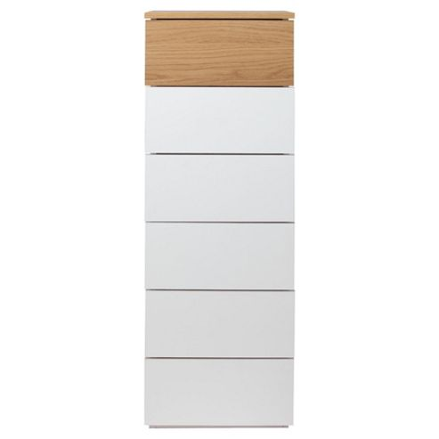 Palma 6 Drawer Tall Chest, Oak/White