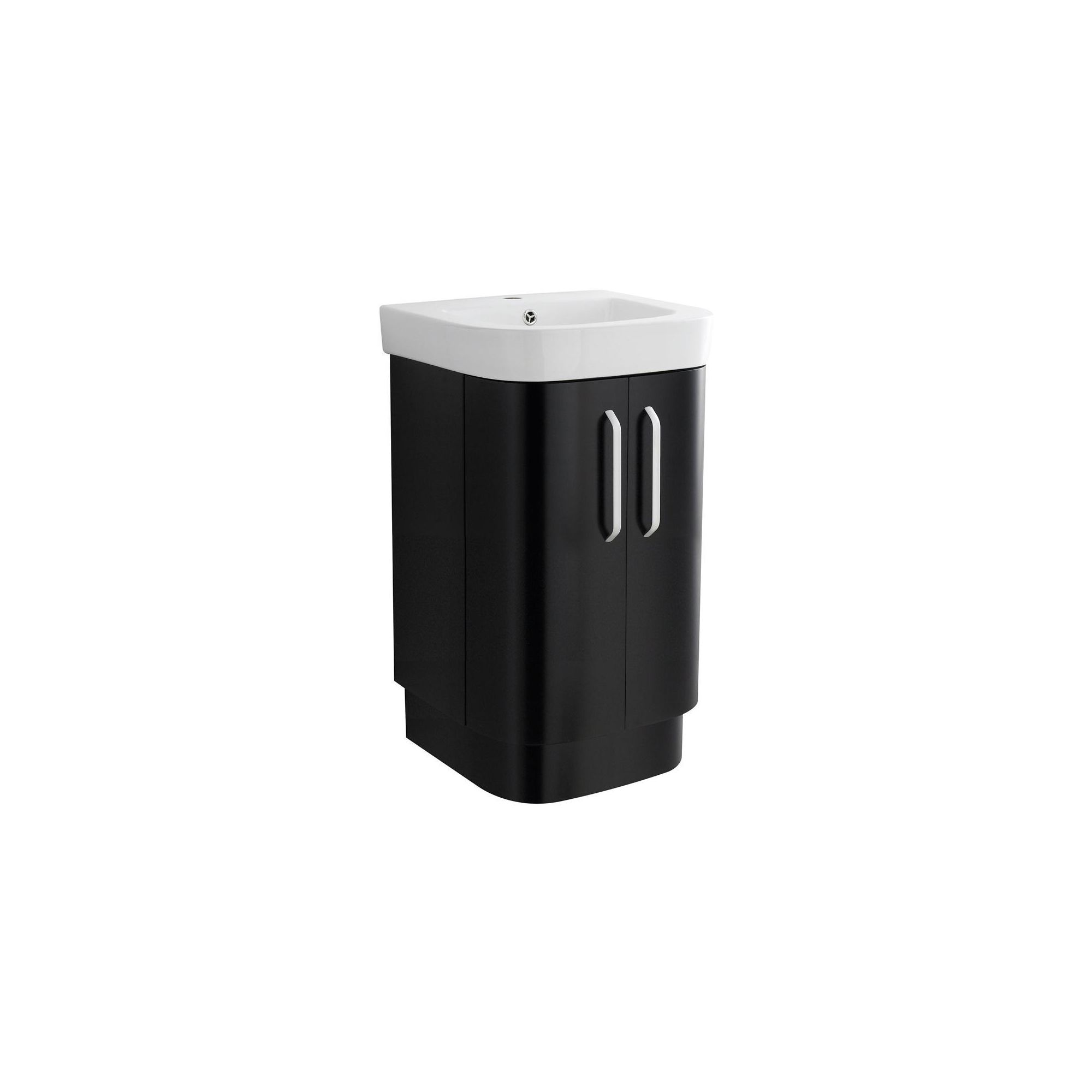 Ultra carlton black floor standing vanity unit and basin for Bathroom cabinets 500mm wide