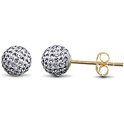 Jewelco London 9ct Gold Clear sparkling Crystal set 6mm Disco Ball Studs