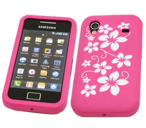 iTALKonline 21402 SoftSkin Silicone Case - Samsung S5830 Galaxy Ace (Pink Flower)