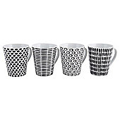 Tesco Black and White Geo Print Tea  and Coffee Mugs 4 pack