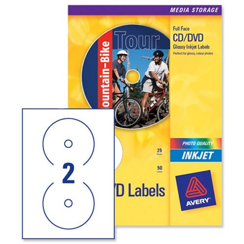 Buy avery cd dvd labels inkjet 2 per sheet dia117mm photo for Avery disc labels