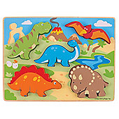 Bigjigs Toys BJ332 Chunky Lift Out Dinosaurs Puzzle