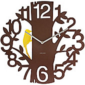 Karlsson 44cm Woodpecker Wall Clock in Brown