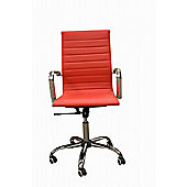 Eames Style High Back Ribbed Red Faux Leather Office Chair