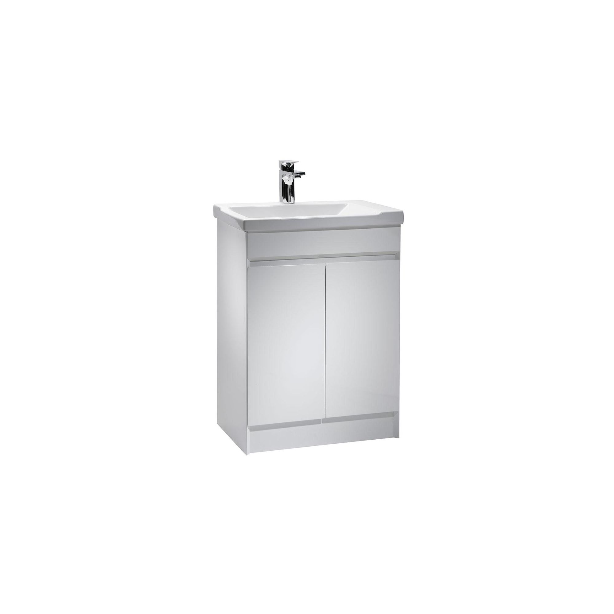 Tavistock Sharp White Floor Standing Cabinet and Basin - 1 Tap Hole - 600mm Wide