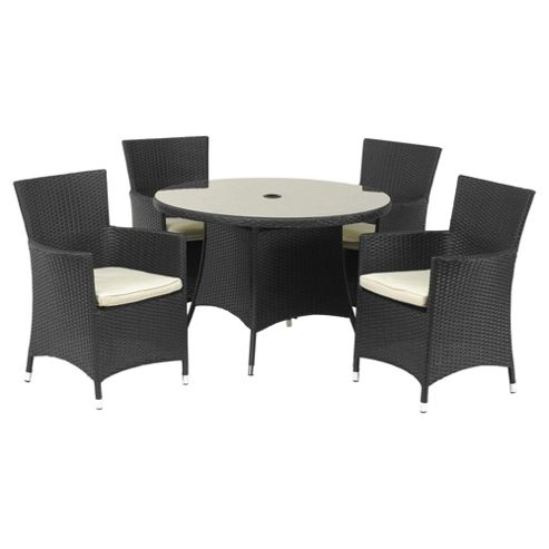 Royalcraft Cannes 110cm Round 4-seat Garden Furniture Set, Black