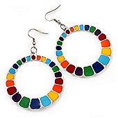 Round Multicoloured Enamel Hoop Drop Earrings (Silver Tone Metal) - 5cm Diameter