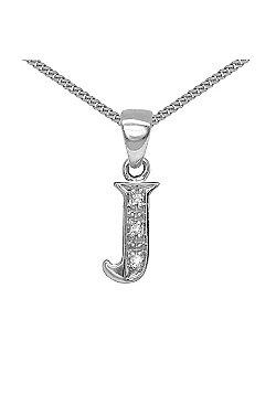 Jewelco London 9 Carat White Gold Elegant Diamond-Set Pendant on an 18 inch Pendant Chain Necklace - Inital J