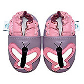 Dotty Fish Soft Leather Baby Shoe - Lilac and Pink Butterfly - 0-6 mths