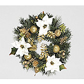 45cm White Poinsettia Wreath with Gilded Fruits