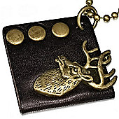 Urban Male Black Leather Dog Tag Style Deer Stags Head Necklace & Gold Chain