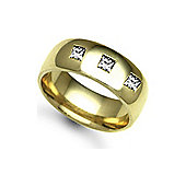 Jewelco London 9ct Yellow Gold 8mm Court Diamond set 30pts Trilogy Wedding / Commitment Ring