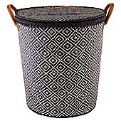 Tesco Aztec Woven Laundry Basket, Navy