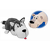 Flip A Zoo Reversible Soft Toy - Huskey to Polar Bear