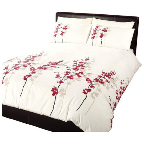 Dreams 'N' Drapes Oriental Flower Duvet Set in Red - Single