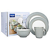 Denby Intro 16 Piece, 4 Person Textured Dinner Set, Mint