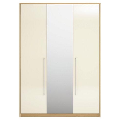 Adria Oak Triple Wardrobe With Ivory Gloss And Mirror Doors
