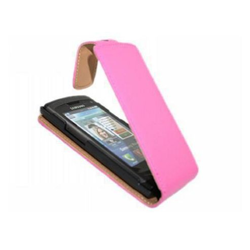 Premium Leather Pink Clip On Flip Case - Samsung S8500 Wave