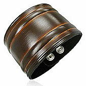 Urban Male Brown Leather Men's Cuff Bracelet 50mm Wide