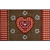 Wash & Dry by Kleen-Tex Alpine Heart Flat Bordered Rug - 120cm x 75cm