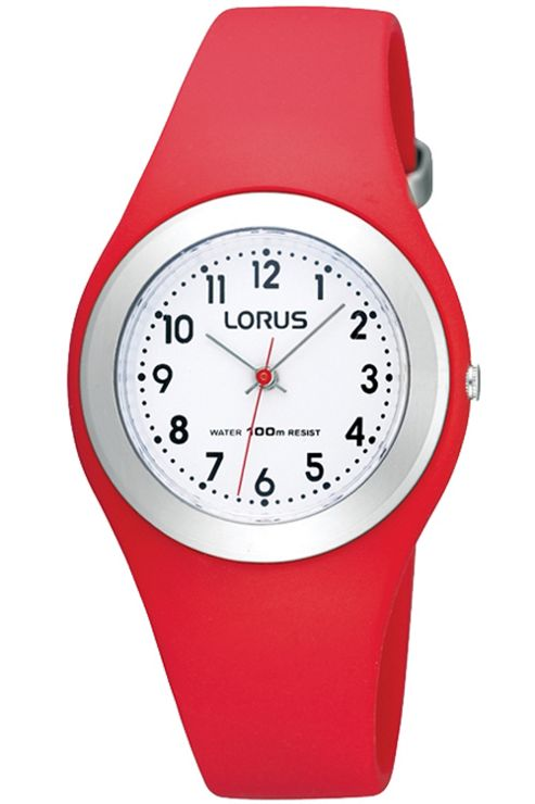 Lorus Childrens Red Rubber Strap Watch R2301GX9