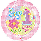 18' Hugs/Stitches 1st Birthday Girl Foil (each)