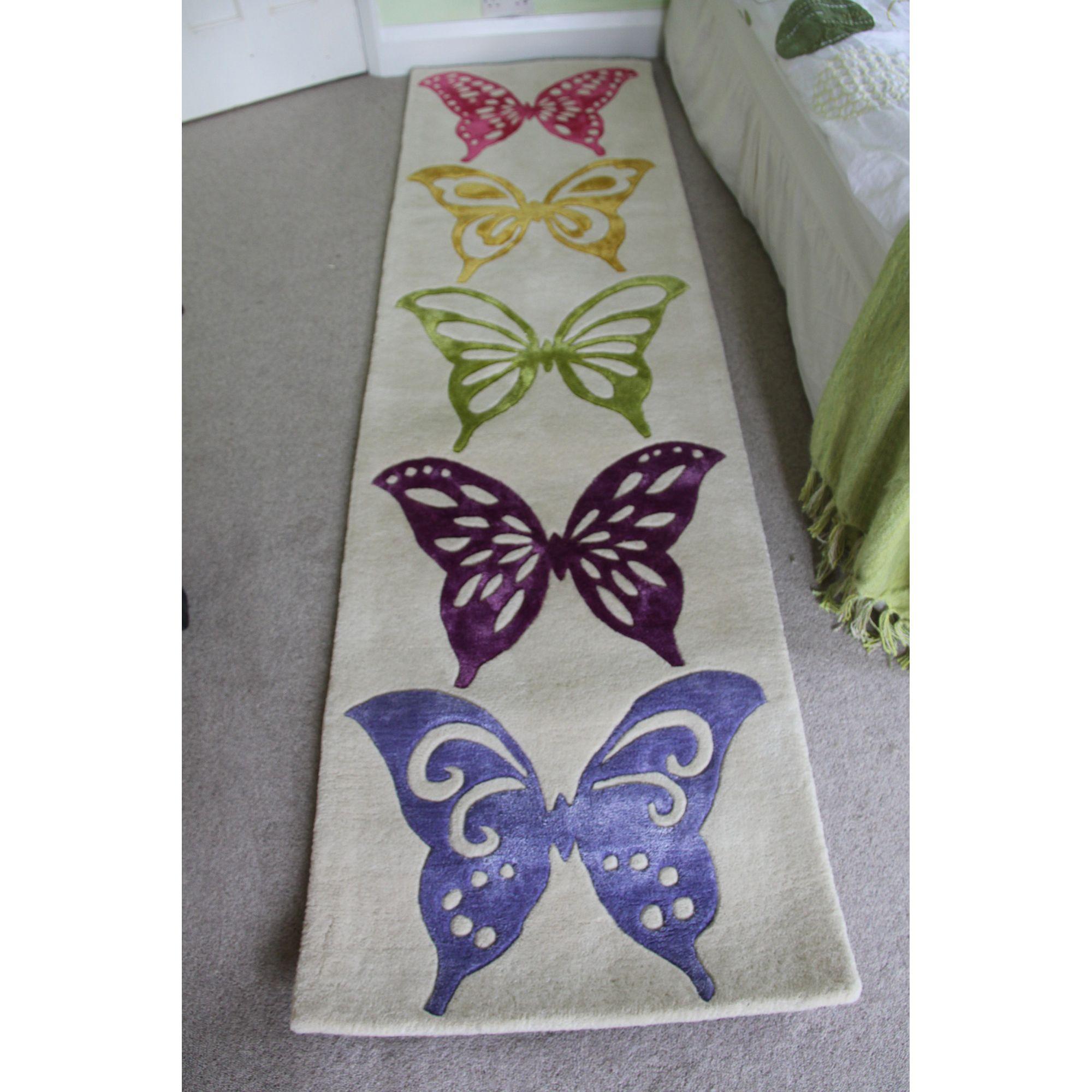 Anna V Rugs Love Butterflies Novelty Runner Rug - Runner 65cm x 244cm at Tesco Direct