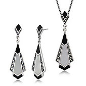 Gemondo Sterling Silver Onyx, Mother of Pearl & Marcasite Art Deco Earring & Necklace Set