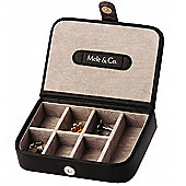 Black Leather Cufflink Case