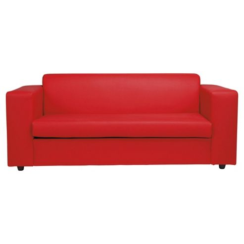 Stanza Leather Effect Sofa Bed, 2 Seater Sofa Red