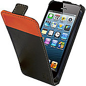 Tortoise™ Look Faux Leather Flip Case iPhone 5 Black/Orange strip