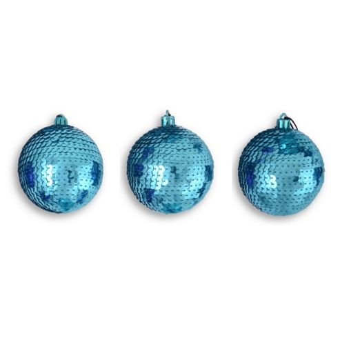 Set of Three Light Blue Sequinned Bauble Christmas Tree Decorations