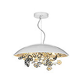 White Metal Domed Ceiling Pendant Light with Laser Cut Decoration