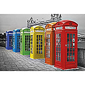 London Phone Boxes Maxi Poster, 92x61cm