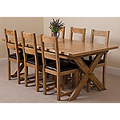 Vermont Solid Oak Crossed Leg 200 cm Extending Dining Table with 6 Lincoln Chunky Solid Oak Dining Chairs
