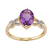 Gemondo Gold Plated Sterling Silver 1.43ct Natural Amethyst Single Stone Style Ring