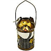 Woof - Cute Dog Metal Candle Holder Lantern - Brown / Bronze