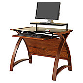 Jual Curve Writing Desk with Modesty Panel - Walnut with Piano Black Glass