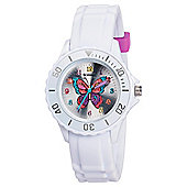 Tikkers White Butterfly Watch