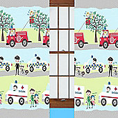 Emergency Vehicle, Childrens Curtains 54s - Multi