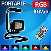 Remote Control 10W RGB LED Colour Changing Floodlight on Stand