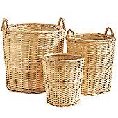 VonHaus 3 Piece Natural Wicker Storage Laundry Basket & Waste Paper Bin Set