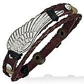 Urban Male Men's Surfer Style Leather & Cord Angel's Wing Bead Bracelet