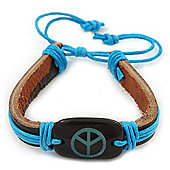 Unisex Dark Brown/ Light Blue Leather 'Peace' Friendship Bracelet - Adjustable