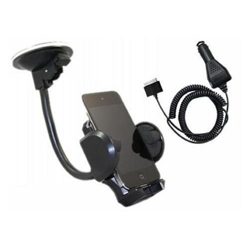 iTALKonline In Car Universal Suction Mount Holder & Car Charger - For Apple iPod Touch 4G