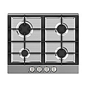 Russell Hobbs RH60GH402SS, 60cm Wide 4 Burner Gas Hob, Stainless Steel