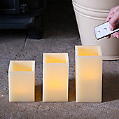 Set of 3 Square Wax Battery LED Candles With Remote Control