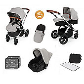 ickle Bubba V2 Stomp AIO Travel System with Mosquito Net - Silver (Silver Chassis)